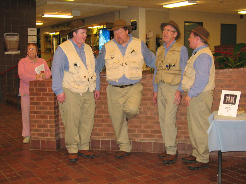 2007 - 4 Man Fishin Tackle Choir in theatre lobby - Apr. 21 2007.jpg