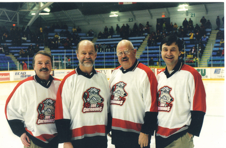 1998 - Take IV perform anthem at Soo Greyhound game - Dec. 30 1998.jpg